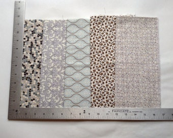 Blue and Brown Off White Fat Quarters