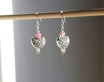 Hearts on Hearts Silver Earrings