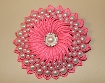 Handmade Pearl Adorned Flower Clip/ Brooch