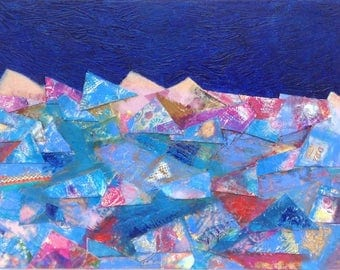 Abstract mixed media painting, colourful original artwork, blue and pink