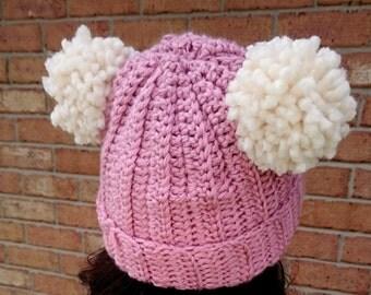 Pink Pompom Beanie Crochet Ribbed Pompom Beanie