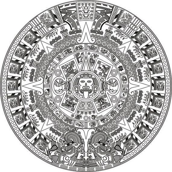instant aztec sun calendar printable resizable