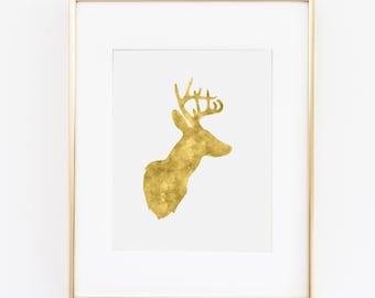 Wall Art Print - Gold Deer Antler Digital Download Art Print