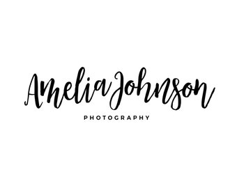 Calligraphy Logo / Photography Logo and Watermarks /  Modern Logo Design / Premade Logo Designer / Cursive Blog Header / Makeup Artist Logo
