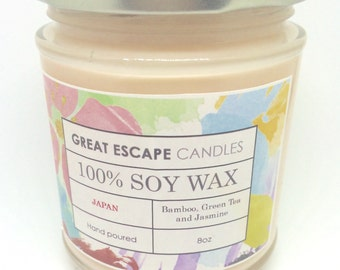 Smells Like Japan 100% Soy Candle Hand Poured Bamboo Jasmine Green Tea Made in UK