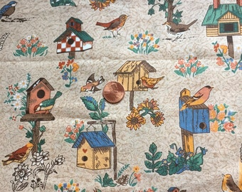 """Vintage, Cotton, Fabric, Remnant, Birdhouses on Brown, 44"""" wide  x 27"""" Long"""