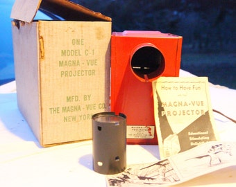 SALE! 25% discount. Vintage Magna-Vue Projector in working condition with Original Papers