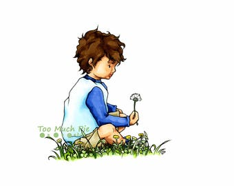 Boy wishing on a Dandelion