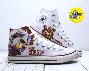 Kurt Cobain Nirvana custom painted converse sneakers rock style