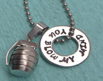 You Blow My Mind necklace, Hand stamped jewelry, Christmas, Stocking Stuffer