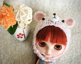 Hand Knitted Hat Pink Bear Woolen Hat For Blythe Dolls