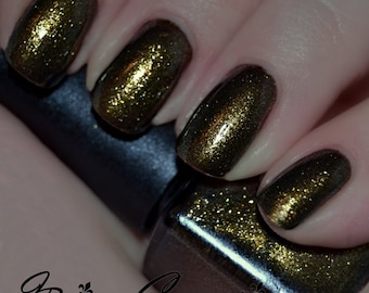 Who Dat? - Black and Gold Shimmer Nail Polish