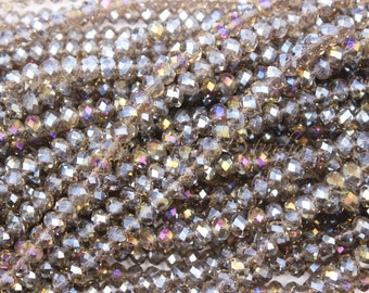 4mm 6mm 8mm Crystal Faceted Rondelle Beads Full Strand, Crystal Beads, Glass Beads, Findings, Beading Supplies, Jewelry Supplies