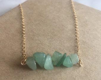 Aventurine Necklace, Gemstone Bar Necklace, Aventurine Jewelry - Gemstone Necklace, Green Crystal Necklace, August Birthstone, gift for her