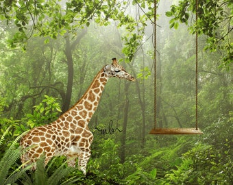 Giraffe in forest with swing digital background, backdrop
