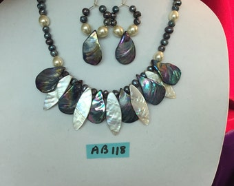 Pearl Shells And Beads Necklace And Earrings