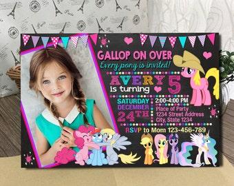 My Little Pony Invitation. My Little Pony Birthday Invitations.My Little Pony Printable.My Little Pony Party.Little Pony chalkboard Invites.