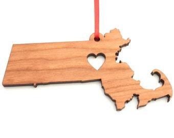 Heart Massachusetts Christmas Ornament - MA State Shape Ornament with Christmas Heart Cutout - Massachusetts Ornament by Heart State Shop