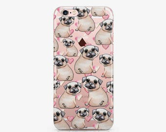 Pug Clear Case Dog Samsung Galaxy Case iPhone 6 Case iPhone 6s Case Google Pixel Puppy iPhone 7 Plus Case S7 Edge Cases Samsung s8 ACC_135
