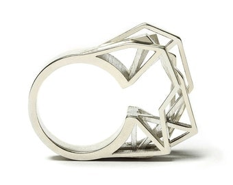 Solitaire ring, 3D printed 925 silver