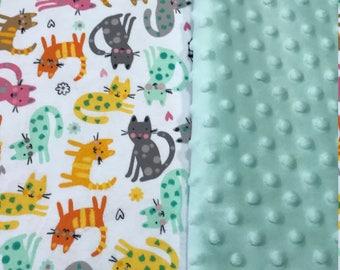 Cat Baby blanket Baby girl blanket Baby shower gift jersey knit blanket pink Minky blanket Girl baby Shower gift toddler knit blanket