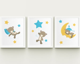 Nursery baby boy room printable art sleepy teddy bear on the moon wall decor, teddy with stars and moon child room kids room wall art blue