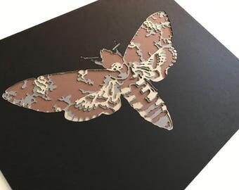 Moth Papercut Art Print 8x10