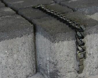 Chunky Curb Chain, Womens Black Chain Bracelet, Rock Style Chain, Curb Chain Bracelet, Black Chain Bracelet, Black Link Bracelet
