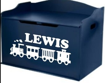 Personalized toy train name decal for children's furniture