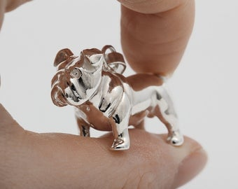 Vakkancs English Bulldog 3D pendant (sterling silver)