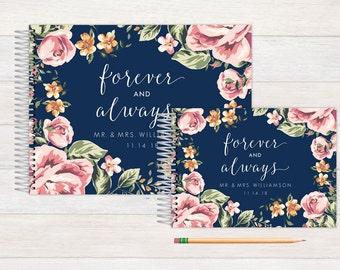 Wedding Guest Book, Wedding Guestbook, Custom Guest Book, Photo Guest Book, Personalized Guest Book, Wedding Registry Book, Navy and Floral