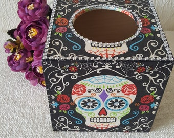 day of the dead decoupaged tissue box cover