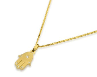 14 karat solid yellow or white gold hamsa necklace pendant on 14k gold chain set with 0.05 carats of diamonds