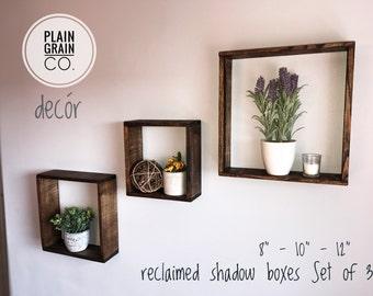 """Reclaimed Box Shelves (Set of 3) 8"""", 10"""" & 12"""""""