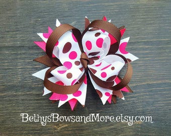 Hot Pink and Brown Hair Bow Clip, Pink and Brown Bows, 4 Inch Hair Bows, Bows for Girls, Bows for Toddlers, Bows for Babies, Boutique Bows