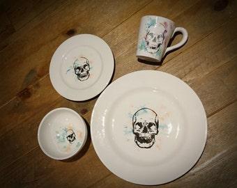 Skull hand painted, skulls dinner set, ceramic dinnerware, colourful alternative tableware, gothic gift, goth homeware, weird and wonderful.