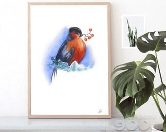 Instant Download Bullfinch Art Bird Art Print Bullfinch Art print Bird watercolor Bullfinch illustration Watercolor art Bird painting