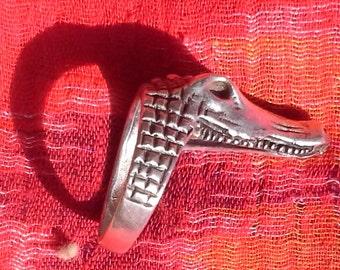Mexico silver tribal ring crocodile, ethnic, boho