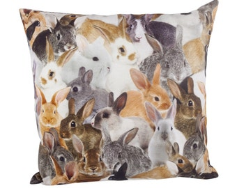 "Pillow square including filling, trend motive, cotton, animal-print ""sweet bunnies"""