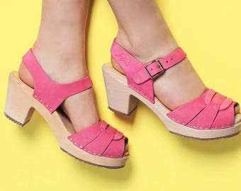 Swedish Clogs Peep Toe Bubblegum Pink Nubuck Leather by Lotta from Stockholm / Wooden Shoes / High Heel / Wedding / Made in Sweden /