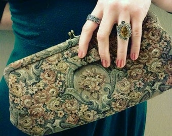 Classic Vintage Tapestry Clutch, MM, Satin Lining