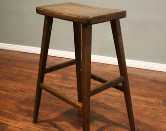 Hardwood Saddle Bar Stool