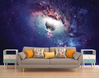 Galaxy Mural, Space Wallpaper, Outer Space Wall Mural, Stars, Deep Space, Universe, Planet, Planets, Solar System, Space, Peel and Stick
