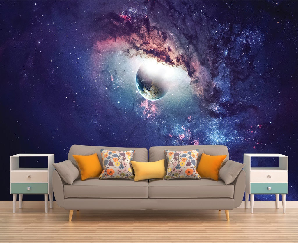 Galaxy mural space wallpaper outer space wall mural stars for Astronaut wall mural