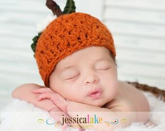 Newborn Baby Pumpkin Hat, Photographer props, Made to Order
