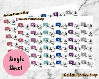 YouTube Binge Glitter Stickers for Any Planner - Erin Condren, Happy Planner, Recollections Planner
