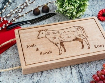 Personalised solid oak butchers block chopping board