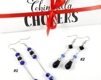 Blue Crystal Earrings Black Crystal Earrings Blue Earrings Black Earrings Long Blue Earrings Long Silver Earrings Extra Long Earrings