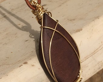 "Wire Wrapped Walnut Tree Gem/Wire Wrapped Pendant/Brass Pendant/Wood Jewelry/Handmade Jewelry/2.5""/Handmade Gifts/Gifts for Her"