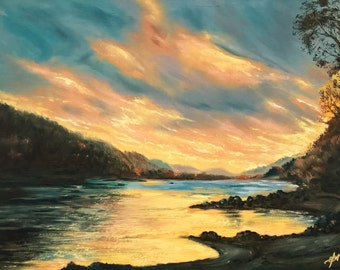 """Landscape """"Sunset on the river"""". Sunset, handmade, original painting, gift for a man"""